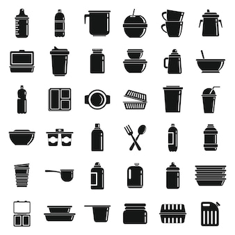 Набор иконок пластиковая посуда, простой стиль
