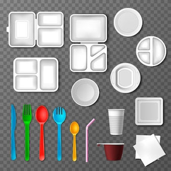 Plastic tableware picnic disposable cutlery spoon fork plate takeaway food containers and drinks in cup illustration set of empty kitchenware or dinnerware isolated on transparent background