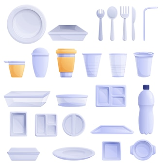 Plastic tableware set, cartoon style