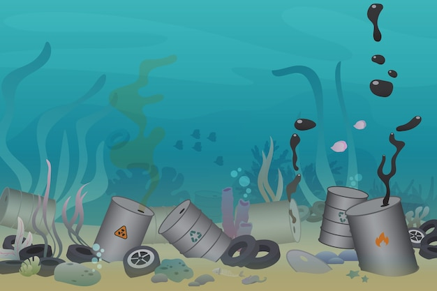 Plastic, tires and poisonous barrel pollution illustration trash under the sea
