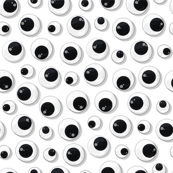 Plastic toy eyes seamless pattern on white insulated background various safe parts