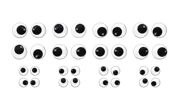 Plastic toy eyes set on a white insulated background different fun pairs of safe eyes