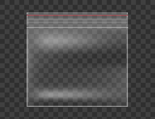 Plastic transparent bag isolated on checkered background.