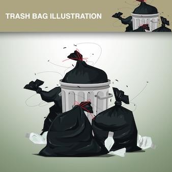 Пластиковые мешки для мусора иллюстрация