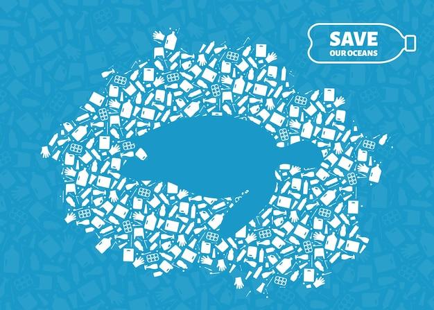 Plastic trash planet pollution concept vector illustration turtle marine reptile silhouette cut in