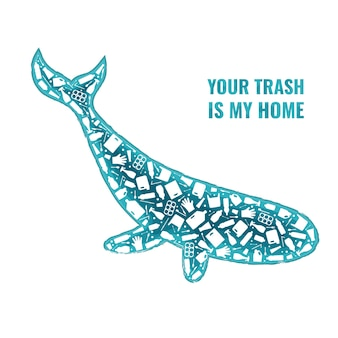 Plastic trash planet pollution concept vector illustration whale marine mammal outline filled with