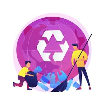 プラスチックのごみの分別。アイデアのリサイクルと再利用。ペットボトルを集める男。ゴミ箱、ゴミの分別、エコロジー保護。