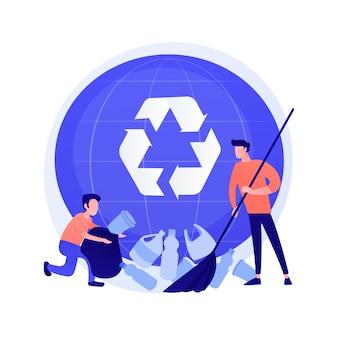 プラスチックのごみの分別。アイデアのリサイクルと再利用。ペットボトルを集める男