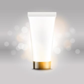 플라스틱 튜브 광고 벡터 템플릿입니다. 브랜드 로고와 빛나는 배경을 위한 크림 병 템플릿