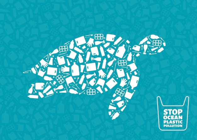 Plastic waste ocean environment problem concept vector illustration turtle marine reptile outline