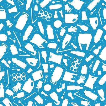 Plastic waste ocean pollution seamless pattern vector illustration eco problem water pollution trash