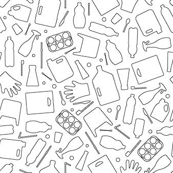 Пластиковые отходы, загрязнение океана бесшовные векторные иллюстрации. экологическая проблема загрязнения воды