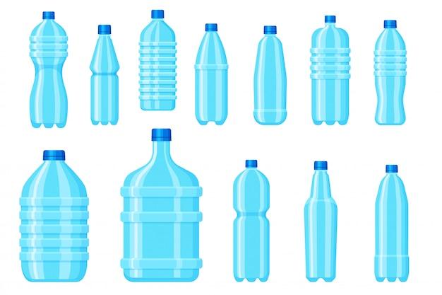 ペットボトル。ミネラルと純水の空のドリンクコンテナー。白い背景の空白のアクア包装。飲料や液体製品のペットボトルアイコン。