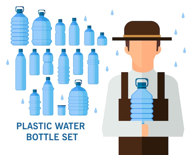 Plastic water bottle set concept background