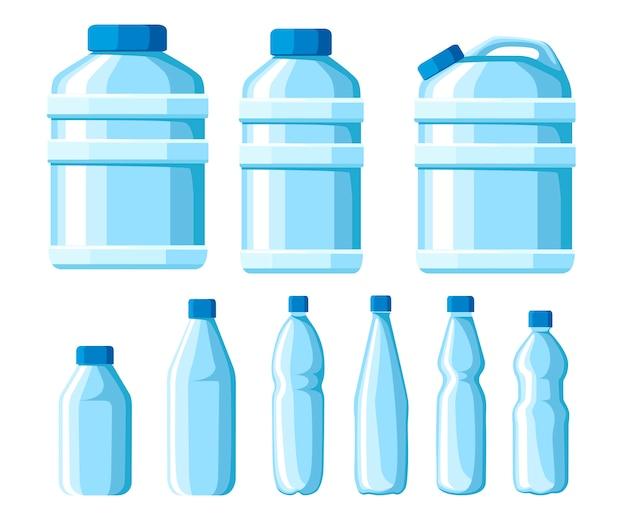 プラスチック製の水ボトルセット。健康的なアグアのボトルのイラスト。プラスチック容器に入った飲み物をきれいにしてください。水のボトルのテンプレート。白い背景の上のベクトル図