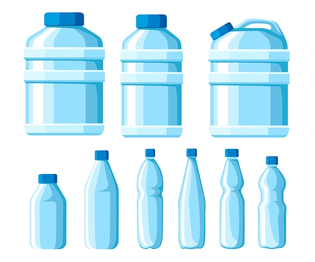 Plastic water bottle set. healthy agua bottles  illustration. clean drink in plastic container. templates for bottles with water. vector illustration  on white background
