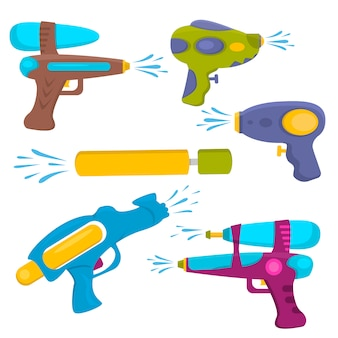 Plastic water gun isolated set.