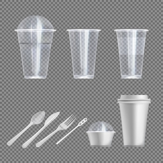 Пластиковый износ. ложка, вилка и нож, стакан для напитков и закусок на вынос с крышками и без крышек, посуда для пикника. реалистичная посуда и кухонная утварь на прозрачном