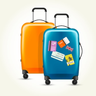 Plastic wheeled suitcases - baggage with travel tags