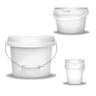 Plastic white buckets 3d realistic paint bucket.