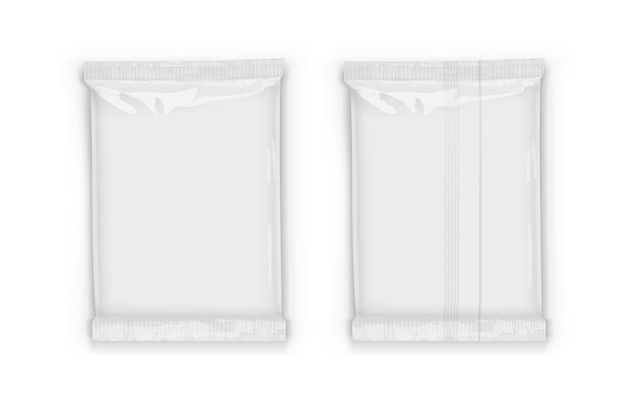 Plastic white flow packaging with transparent shadows isolated