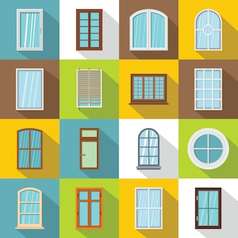 Plastic window forms icons set, flat style