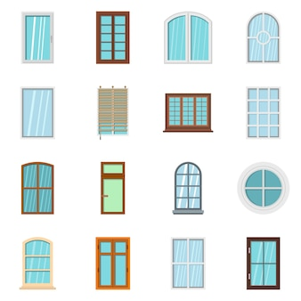 Plastic window forms icons set in flat style