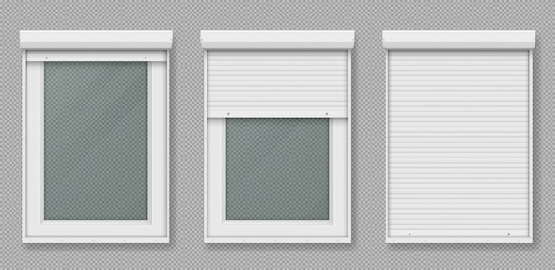 Plastic window with white rolling shutter