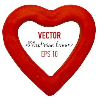 Plasticine  in heart form.