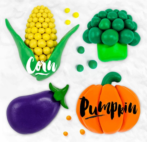 Plasticine modeling vegetables