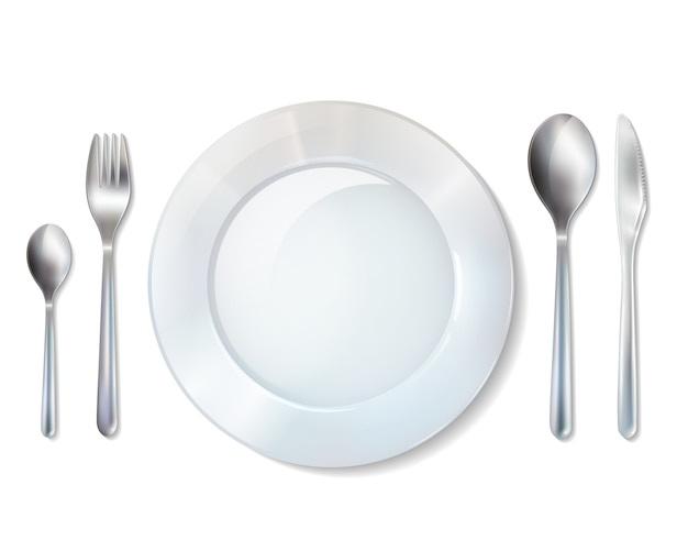 Plate and cutlery realistic set image
