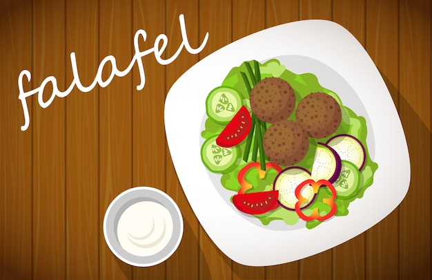 Plate of falafel on wooden table top view.