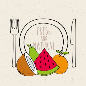 Plate fork and knife fresh and natural fruit coconut watermelon orange pear