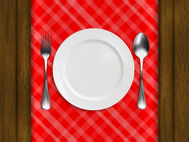 赤い市松模様のテーブルクロスに皿、フォーク、スプーンを置き、木製のテーブルの上に置きます。リアルなスタイル。ベクトルイラスト。