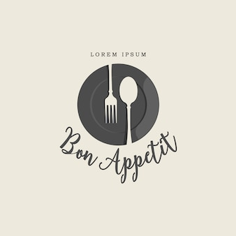 Plate fork and spoon vintage logo