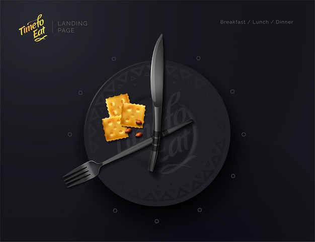 Plate is a clock meal time food interval proper nutrition modern vector illustration top view
