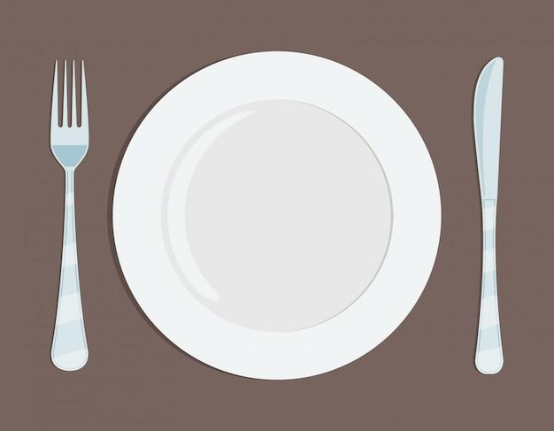Тарелка ножа и форкона.