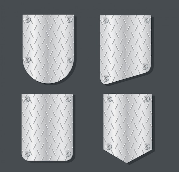 Plate metal banner set vector