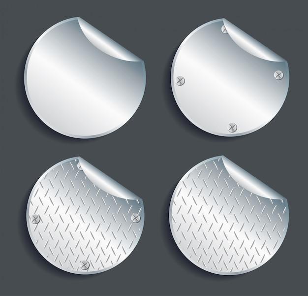 Plate metal circle buttons set vector