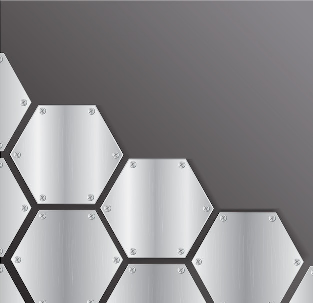 Plate metal hexagon background vector