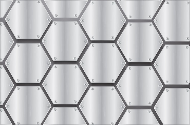 Plate metal hexagon and black background