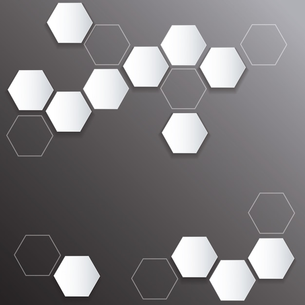 Plate metal hexagon and space black background