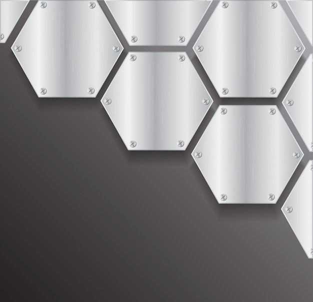 Plate metal hexagon and space
