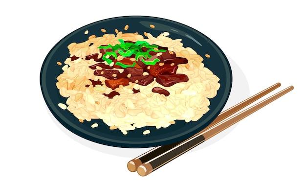 Тарелка bulgogi или огненное мясо.