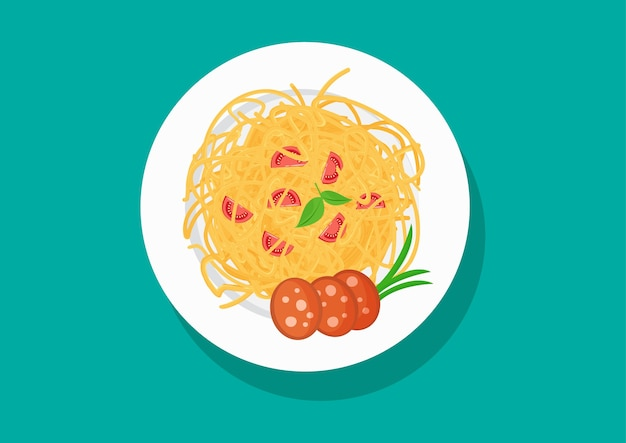 Тарелка спагетти с помидорами и колбасой, блюда из пасты
