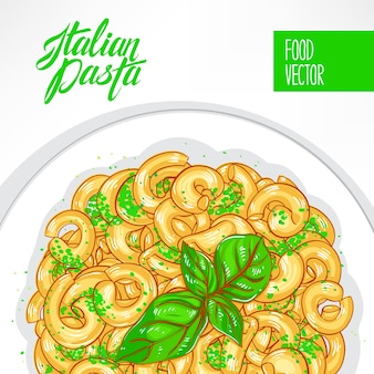 Plate of pasta with basil on a white background