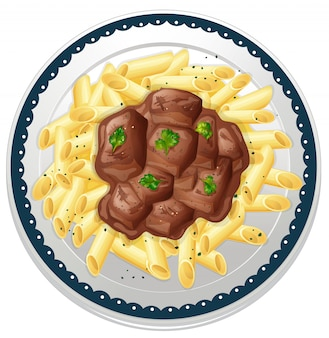 Plate of pasta with beef stew