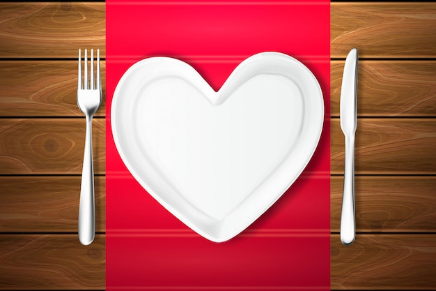 Plate shape heart, knife, fork wood texture