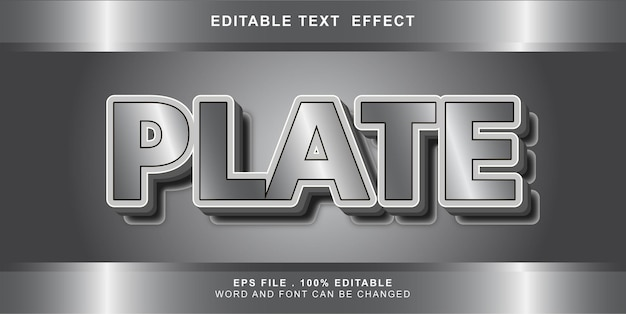 Plate text effect editable