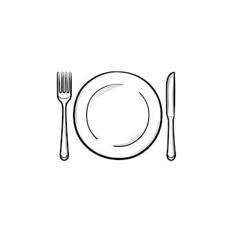 포크와 나이프 손으로 그린 개요 낙서 아이콘이 있는 접시. 식기류 - 흰색 배경에 격리된 인쇄, 웹, 모바일 및 인포그래픽을 위한 포크와 나이프 벡터 스케치 삽화가 있는 접시. 프리미엄 벡터